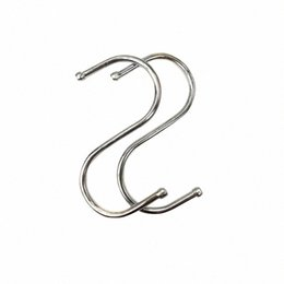 wholesale coat hooks stainless steel Canada - 10 Pcs Kitchen Clothes Closet Coat Rack Hanging S Shaped Stainless Steel Pan Hook Bathroom Multifunction Storage Hangers Sausage 8JVS#