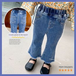 Wholesale slit wide pants for sale – dress a2yDo Wonderful children s wear Spring and Autumn Bell pants jeansjeans and jeansNew slit jeans Korean style stretch stitching flared p