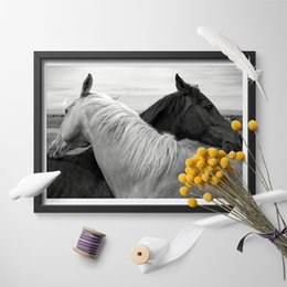 canvas prints horses Australia - Nordic Style Canvas Modern Printed Animal Horse Crow Poster Home Decor Painting Wall Art Simple Pictures For Living Room Modular