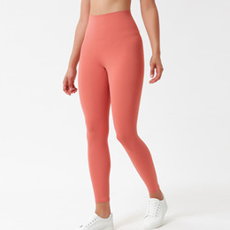 ingrosso leggings a vita alta-Pantaloni delle donne Pantaloni ad alta vita Sport Gym Indossare Leggings Elastico Fitness Lady Workout Soft Color Yoga Pantaloni Pantaloni Stilista Legging Size XS XL