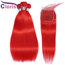 red weave hair 4pcs 2020 - Red Colored Human Hair Bundles With Lace Closure Silky Straight Brazilian Virgin Colored Weave Closure 4pcs Red Extensio