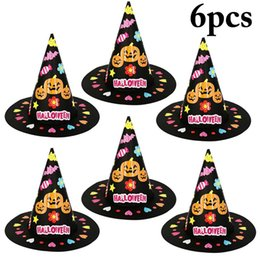 handmade craft kid Canada - 6 Sets Halloween Cute Pumpkin DIY Craft Kit Paper Party Hat Handmade Craft Kit for Kids Children Women Men Halloween Party Hats