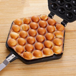 Venta al por mayor de Burbuja de huevo Pastel horneado cacerola del molde de hierro aluminio Eggettes Hongkong la galleta del molde del fabricante revestimiento antiadherente de bricolaje molletes placa