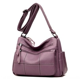 mid cell phone UK - 2020 new shoulder summer mid-year women's shoulder messenger bag large capacity soft leather women's mother bag