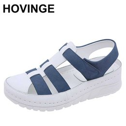 low platform wedges UK - HOVINGE New Designers Sport Sandals Wedge Hollow Out Women Sandals Outdoor Cool Platform Shoes Woman Beach Summer Shoes Ladies