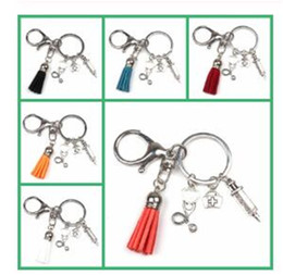 medicine syringes Australia - New Nurse Medical Box Medical Key Chain Needle Syringe Stethoscope Color Tassel Cute Keychain Jewelry Medicine Graduate Gift