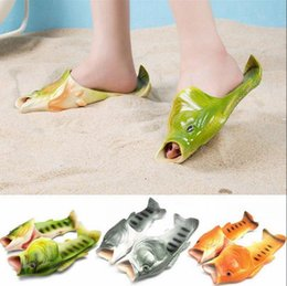 sandals pair UK - Creative Fish Shower Slippers Funny Beach Shoes Sandals Bling Flip Flops Summer Fish Shaped Casual Shoes 20 Pairs OOA3376