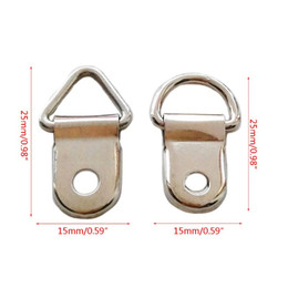 pictures hooks NZ - 100pcs D Ring Hanging Picture Frame Strap Hanger Hooks Oil Painting Mirror Hanger with 100 Screws