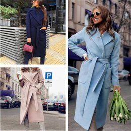 Wholesale red coats for sale - Group buy Fashion Women Coat Blends Casual Solid Long Sleeve Lapel Neck Loose Blends with Sashes Outerwear Women Designer Coat