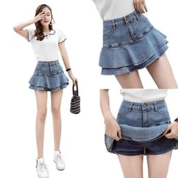 hot pants korean style summer Canada - Denim Shorts Skirt Women 2020 Summer Wear New ruffle Korean-style Flounced Denim Skirted Shorts Girls Students Hot Pants Jean Shorts Femme