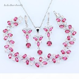 hot pink chain Australia - Lady 925 Sterling silver jewelry sets Pink crystal white zircon Bracelet Necklace Pendant long Earrings Chain for women