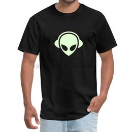 glow dark headphones UK - Men tshirt Alien headphones Glow in the dark - Men's T-Shirt(2) Printed T-Shirt tees top