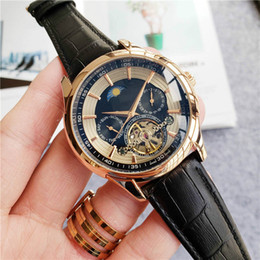 leather strap watch white men UK - Automatic mechanical movement watch men business watch full-function dial leather strap boutique fashion watch birthday gift watches