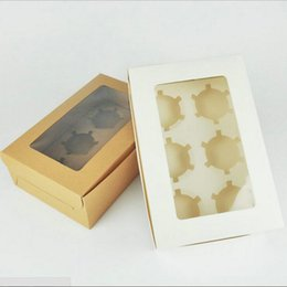 Wholesale Chilly Cupcake Boxes Pastry And Cookie Box Cupcake Containers Carriers Bakery Cake Box With Stickers And Window 5 Kraft And 5 White FUNxf