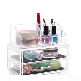 clear makeup drawers cosmetics UK - Drawer Clear Acrylic Crystal Cosmetic Organizer Makeup Case Storage Box Jewelry Display Stand Holder Lipstick Nail Polish Rack