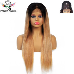middle part closure wig NZ - Panda 1B 30 Ombre Straight 4*4 Lace Closure Human Hair Wigs With Baby Hair Brazilian Remy Hair 150% Density Lace Wig Middle Part