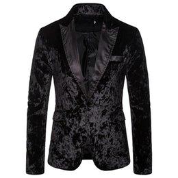 Wholesale velvet jackets resale online – Men s Korean Velvet Blazer Winter Autunm New Fashion Charm Men Casual Fit Slim Suit One Button Business Coat Jacket Solid Blouse