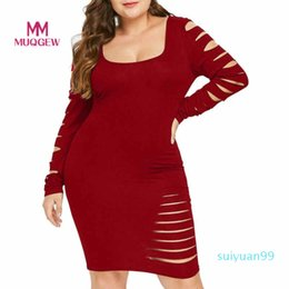 ripping dresses UK - Hot Sale Sexy Plus Size Women Dress Slim Fit Bodycon Dress Long Sleeve Elegant Hole Ladder Cut Out Sleeve Ripped Dress Free Shipping