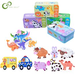 game card box Canada - Baby Kids Cognition Puzzles Toys Cartoon Traffic Animal Cognition Puzzles Toys Baby Iron Box Cards Matching Education Game ZXH