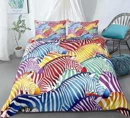 zebra print bedding sets Australia - Rainbow Bedding Set Zebra Duvet Cover Set Wild Animals Bed Line For Teen Colorful Quilt Cover King Bed Twin Home Textiles Pza7#