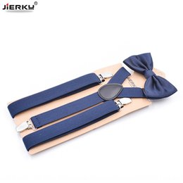 men clip bow ties UK - Bow tie set three-clip adult unisex Y-type shoulder Butterfly shoulder strap monochrome strap clip lengthened