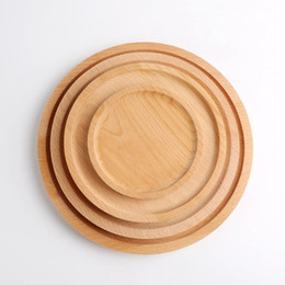 Wholesale bc cup resale online - Fruits Platter Dish Round Wood Plate Dish Dessert Plate Sushi Dish Tea Server Hotel Tray Cup Holder Bowl Pad Tableware Customize BC HWC39