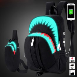 shark backpack NZ - uggage & s Backpacks Men Fashion USB Charging Night Luminous Backpack Shark Laptop Backpack Chest Bag Teenagers School Bag Mochila Tr...
