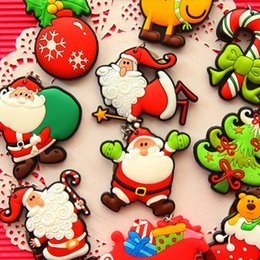 christmas trees rings gift NZ - 1000pcs Mix Pattern Cute Christmas Santa Claus Keychain Cartoon Christmas Tree Pendants Ring Key Chain Gift for Children
