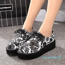 black creepers lace NZ - Women Flats 2020 New Creepers Fashion Women Shoes Platform Shoes Black Lace-Up Casual Suede Creepers 35-41 d01 co02