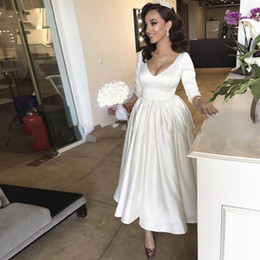 simple tea length wedding dresses sleeves NZ - Setwell V-neck A-line Wedding Dresses Sexy Backless 3 4 Long Sleeves Tea Length Simple Bridal Gowns