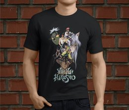 hot cotton tshirts UK - Fashion New Top Tees Tshirts Hot Yu Yu Hakusho Retro Anime Cartoon Men's Black T-Shirt Size S-5XL Round Neck Clothes