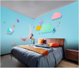 kids clouds wall stickers Australia - 3d wallpaper custom photo murals Hand painted white clouds moon balloon children's whole house background stickers decor wall art pictures