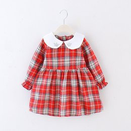 korean girls fashion hair style UK - Kids Designer Clothes Girls a Generation of Hair 2020 Spring and Autumn Girls Long-Sleeved Korean Style Dress Infant Fashion Plaid Lapel Pri