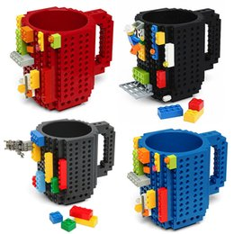 white building blocks UK - Build-On Brick for lego Mug DIY Bulding Blocks Coffee Mugs 350 ml Creative Drinkware BPA Free mug Birthday Gifts Tazas milk cup