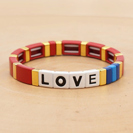 Wholesale 8 color Fashion letter LOVE LOVE, zinc alloy enamel seal color bracelet for men and women