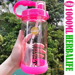 tritan plastic UK - 1000ml Tritan BPA free Rose Red Portable Space water bottle Herbalife Nutrition Plastic Sports Custom Shaker Bottle straw bottle T200102