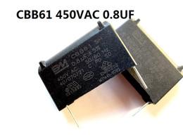 venda por atacado O 0.68uf New CBB61 Capacitor = 0.8UF 450VAC Fan capa Fan Iniciar Capacitor de capacitância