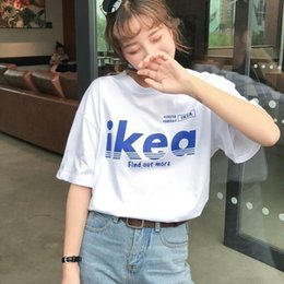 Polyester Summer Casual Loose Purple Tshirt Korean Women Letter T Printed Tee Shirt Harajuku Short Sleeve T Shirt Ulzzang White Top