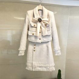 Wholesale tweed skirts resale online - Runway Lady Wool Piece Set Winter Women Luxury Diamond Bow Gold Short Tweed Jacket Coat Fashion Tassel Pencil Skirt Suit