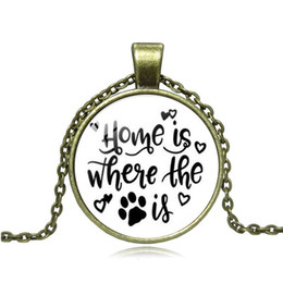 fashion dog glasses 2020 - Home Is Where the Dog Is Time Gem Necklace Handmade Glass DIY Pendant Jewelry Women Fashion cheap fashion dog glasses