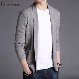 long black fitted cardigan UK - 2020 New Fashion Brand Sweater For Mens Cardigan Long Slim Fit Jumpers Knitred Woolen Autumn Korean Style Casual Men Clothes CX200730