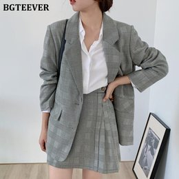 elegant women suits long skirt UK - BGTEEVER Elegant Casual Women Single-breasted Houndstooth Suit Jacket & High Waist Mini Skirts 2 Pieces Female Skirt Suits 2020