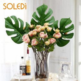 home decor drop ship Australia - 5pcs 10pcs 20pcs Silk Fake Artificial Plant Palm Tree Fern Turtle Leaf Leaves Flowers Home Garden Party Wedding Decor Drop ship IQre#