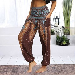 womens white yoga pants UK - Womens Loose Yoga Pants Floral Print Wide Leg Trousers Long Stretch Pants Loose Palazzo Trousers SweatpantsHarlan