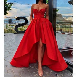 gown pockets red carpet UK - New Arrival Cheap Red Sweetheart Hi-lo A Line Prom Dresses with Pockets Satin Pleats Plus Size Formal Dress Evening Party Gowns