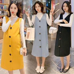 knitted maternity dresses Canada - 125# 2020 Autumn Winter Knitted Maternity Dress Suit High Neck Shirts + Vest Tank Dress Clothes for Pregnant Women Pregnancy