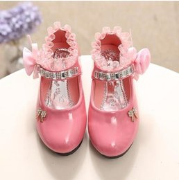 springs dancing shoes Australia - Children's Shoes For Girl Spring New Princess Lace Leather Shoes Fashion Cute Bow Rhinestone Wedding Shoes Student Party Dance CX200725