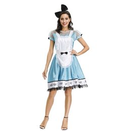 Wholesale alice wonderland cosplay costume online – ideas Adult Anime Alice In Wonderland Blue Party Dress Halloween Women Alice Dream Women Sissy Maid Lolita Cosplay Costume With Apron