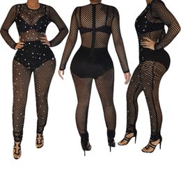 Wholesale pearls jumpsuit resale online – 2020 New Clothing Cheap China European and American Women s Jumpsuits Rompers Sexy mesh perspective shiny pearl jumpsuit