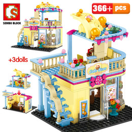 building blocks toy store Australia - SEMBO Famous Brand Fashion Shop DIY Building Blocks City Street View Delicious Cake Store Model Bricks Toys for Girl